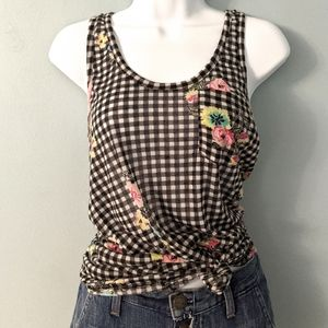 Wallflower checkered floral tank top
